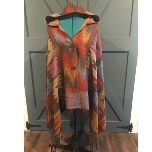 Southwest poncho with hood